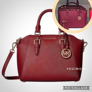 MICHAELKORS SATCHEL CROSSBODY PURSE SCARLET MERLOT